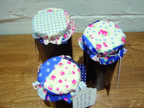 Rhubarb Chutneys With Fabric Toppers