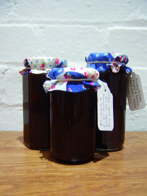 Fabric Jam Jar Tops - Rhubarb Chutney