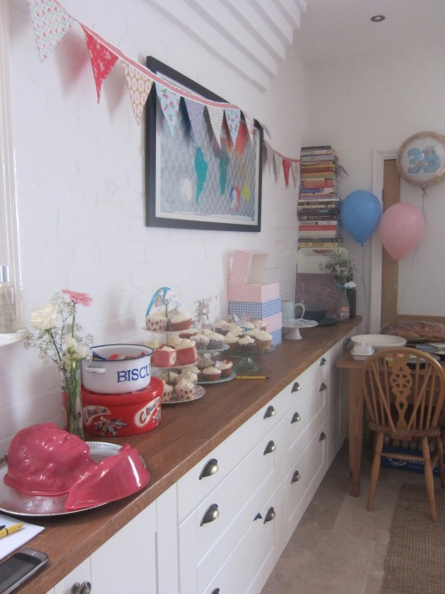 Mum's bunting in action in our kitchen