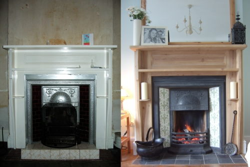 The fireplace before...and after.