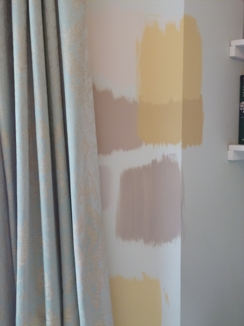 From top left, anticlockwise: Dulux Gentle Fawn, Dulux Muddy Puddle, (peeking out from the curtain) Dulux Perfectly Taupe, Laura Ashley Faded Gold, Dulux Soft Truffle, Crown Period Colours Imperial Gold, Crown Period Colours Pale Gilt