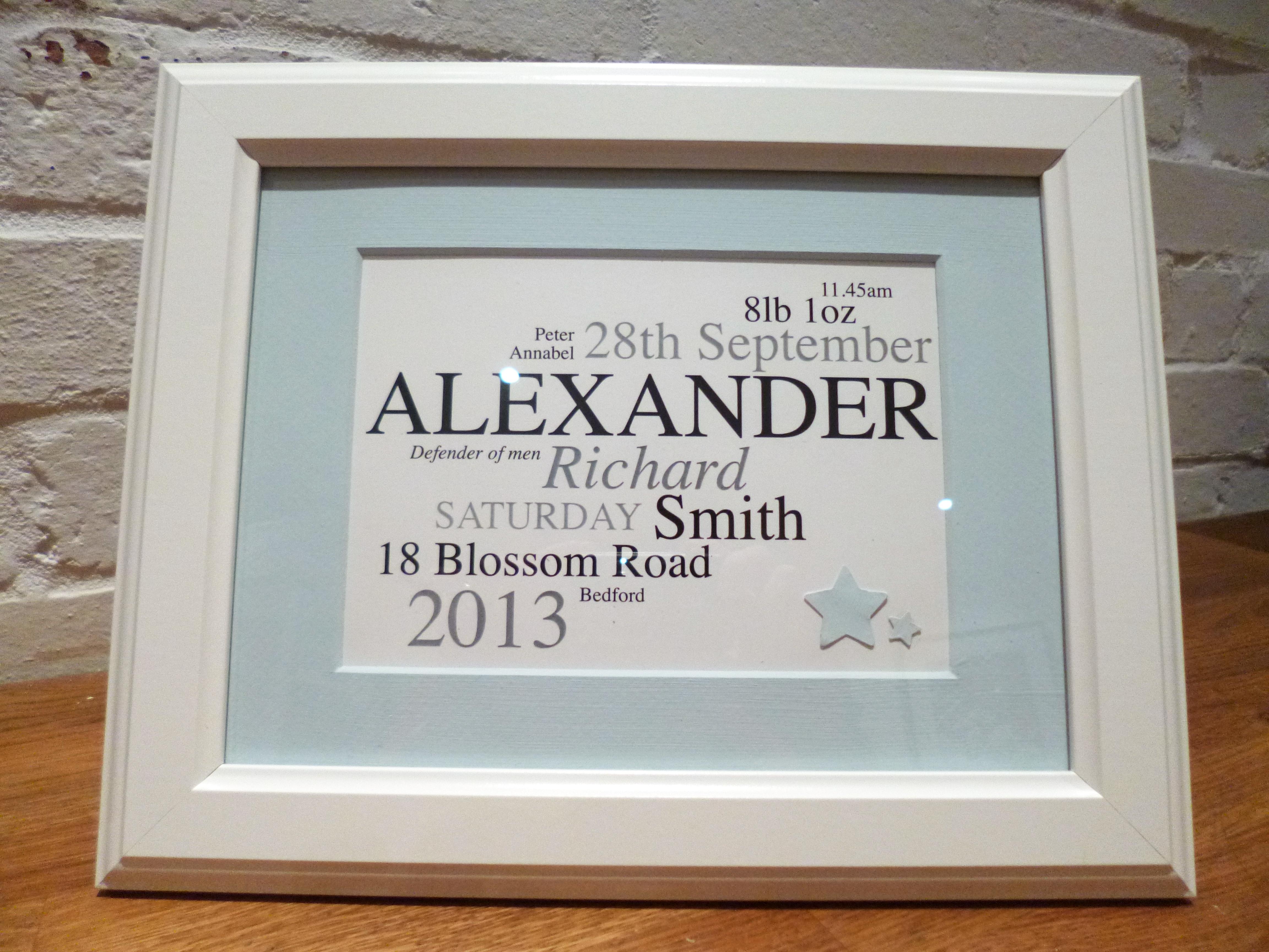 baby name frame alexander