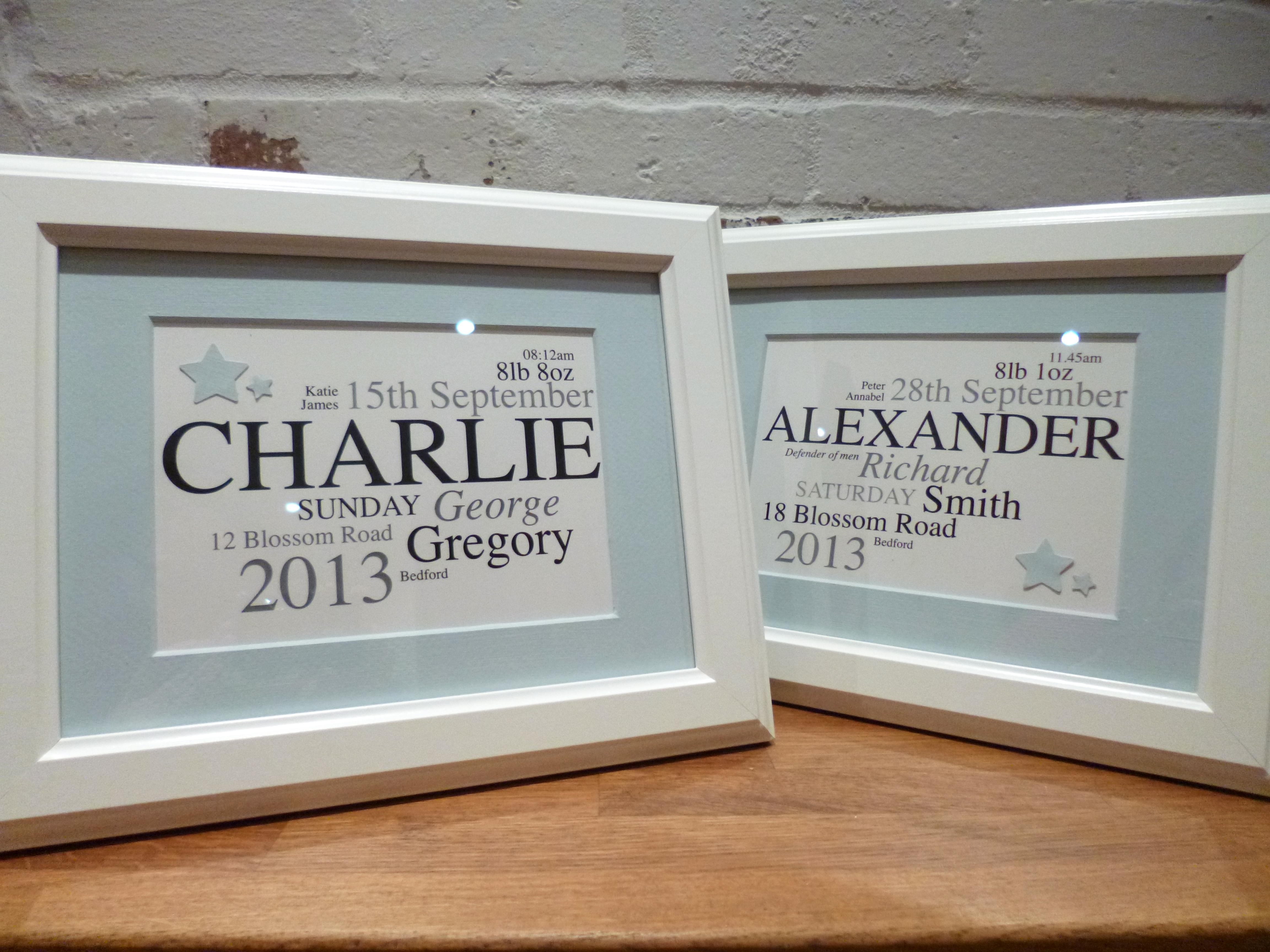 New Baby Name Frames | Turquoise Textiles