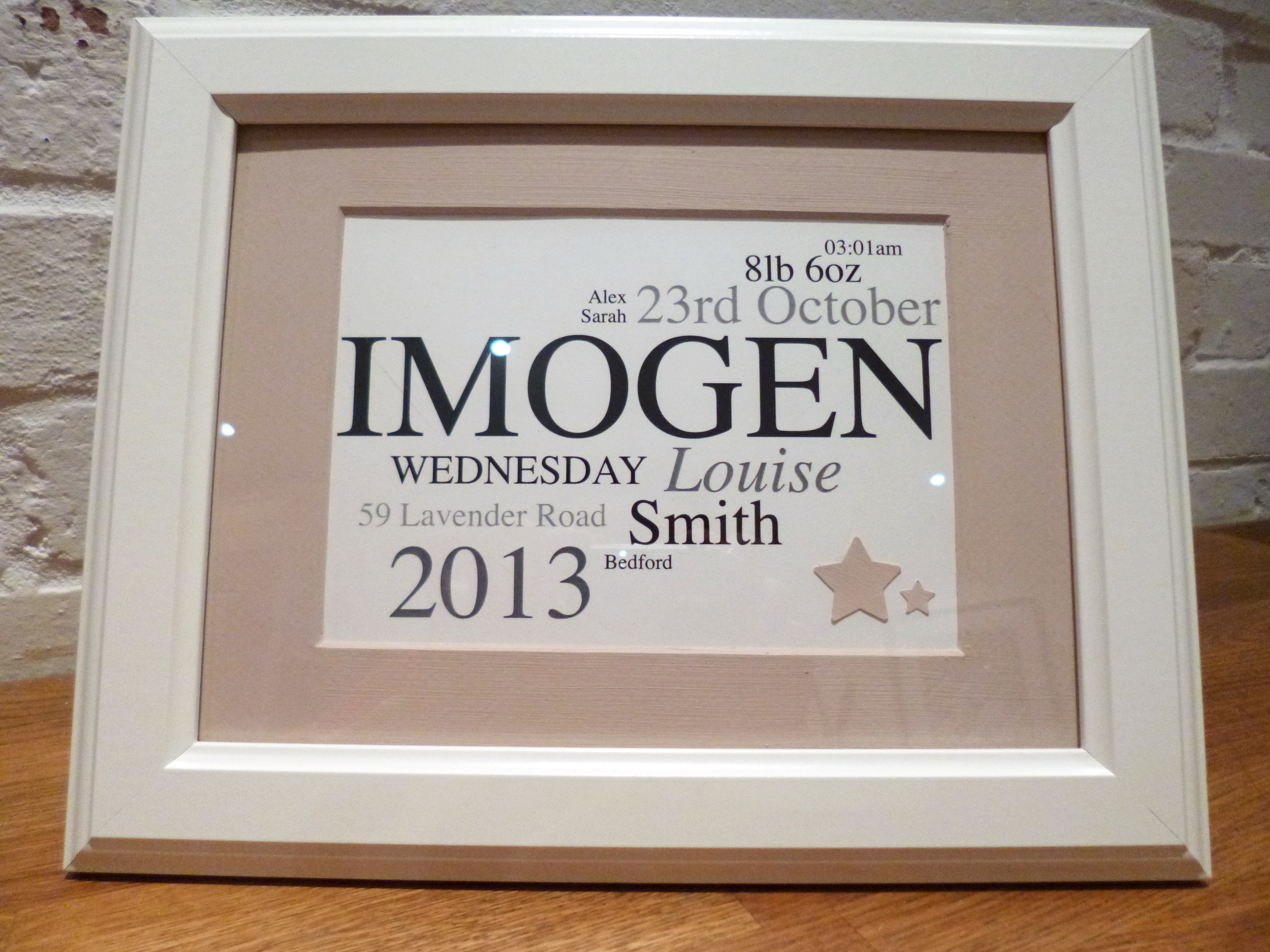 First birthday gifts turquoise textiles baby name frame imogen negle Choice Image